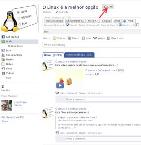 """Página do """"Linux é a melhor opção"""" no Facebook"""